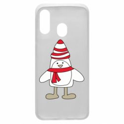 Чехол для Samsung A40 Penguin in the hat and scarf