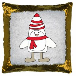 Подушка-хамелеон Penguin in the hat and scarf