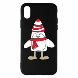 Чехол для iPhone X/Xs Penguin in the hat and scarf