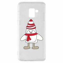 Чехол для Samsung A8+ 2018 Penguin in the hat and scarf