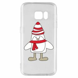 Чехол для Samsung S7 Penguin in the hat and scarf