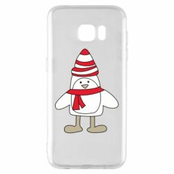 Чехол для Samsung S7 EDGE Penguin in the hat and scarf
