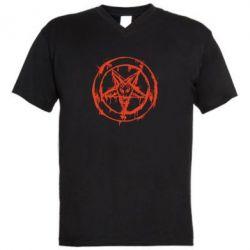 Мужская футболка  с V-образным вырезом Пентаграмма - FatLine