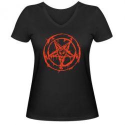 Женская футболка с V-образным вырезом Пентаграмма - FatLine