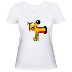 Женская футболка с V-образным вырезом Пес
