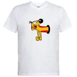 Мужская футболка  с V-образным вырезом Пес - FatLine