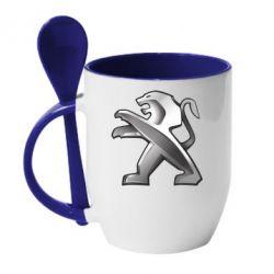 Кружка з керамічною ложкою Peugeot Logo