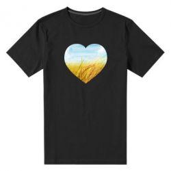 Чоловіча стрейчева футболка Пейзаж України в серце