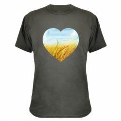 Камуфляжна футболка Пейзаж України в серце