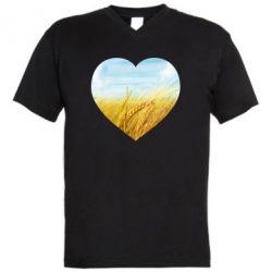 Чоловіча футболка з V-подібним вирізом Пейзаж України в серце