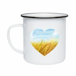 Кружка емальована Пейзаж України в серце