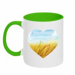 Кружка двоколірна 320ml Пейзаж України в серце