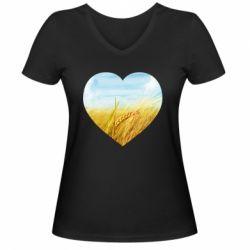 Жіноча футболка з V-подібним вирізом Пейзаж України в серце