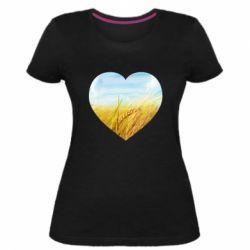 Жіноча стрейчева футболка Пейзаж України в серце