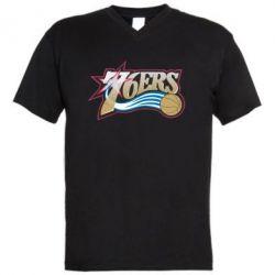 Мужская футболка  с V-образным вырезом Philadelpia 76ers - FatLine