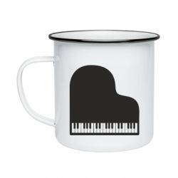 Кружка емальована Piano in the heart