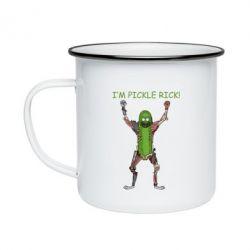 Кружка емальована Pickle Rick