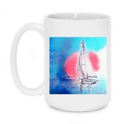 Кружка 420ml Picture of a ship in the sunset