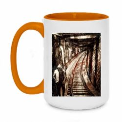 Кружка двухцветная 420ml Picture of a tunnel with sleepers