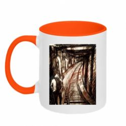 Кружка двухцветная 320ml Picture of a tunnel with sleepers