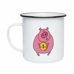 Кружка емальована Pig and $