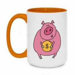 Кружка двоколірна 420ml Pig and $