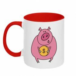 Кружка двоколірна 320ml Pig and $