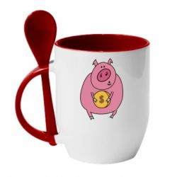 Кружка з керамічною ложкою Pig and $