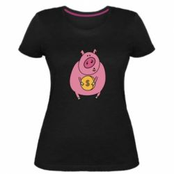 Жіноча стрейчева футболка Pig and $