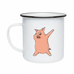Кружка емальована Pig dab