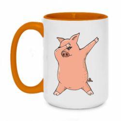 Кружка двоколірна 420ml Pig dab