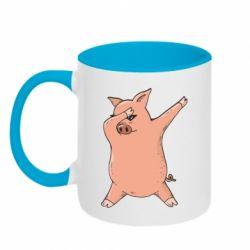 Кружка двоколірна 320ml Pig dab