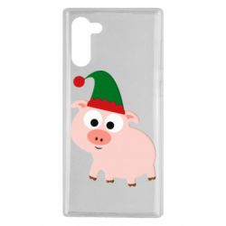 Чохол для Samsung Note 10 Pig in a New Year's cap