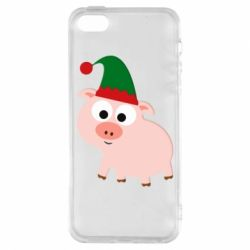 Чохол для iphone 5/5S/SE Pig in a New Year's cap