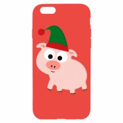 Чохол для iPhone 6/6S Pig in a New Year's cap