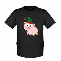 Дитяча футболка Pig in a New Year's cap