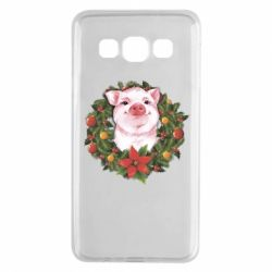 Чохол для Samsung A3 2015 Pig with a Christmas wreath