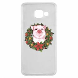 Чохол для Samsung A3 2016 Pig with a Christmas wreath