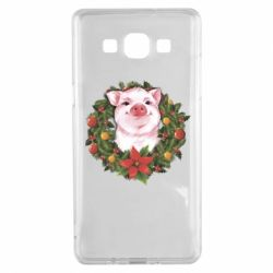 Чохол для Samsung A5 2015 Pig with a Christmas wreath