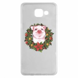 Чохол для Samsung A5 2016 Pig with a Christmas wreath