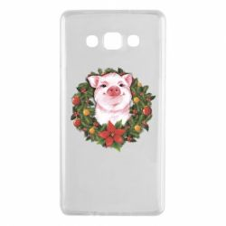 Чохол для Samsung A7 2015 Pig with a Christmas wreath