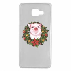 Чохол для Samsung A7 2016 Pig with a Christmas wreath