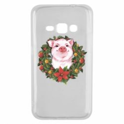 Чохол для Samsung J1 2016 Pig with a Christmas wreath