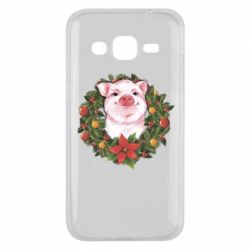 Чохол для Samsung J2 2015 Pig with a Christmas wreath