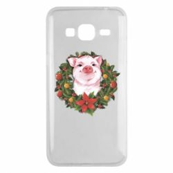 Чохол для Samsung J3 2016 Pig with a Christmas wreath