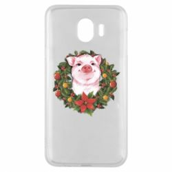 Чохол для Samsung J4 Pig with a Christmas wreath