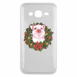 Чохол для Samsung J5 2015 Pig with a Christmas wreath