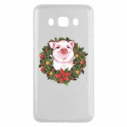 Чохол для Samsung J5 2016 Pig with a Christmas wreath