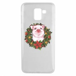 Чохол для Samsung J6 Pig with a Christmas wreath