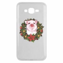 Чохол для Samsung J7 2015 Pig with a Christmas wreath